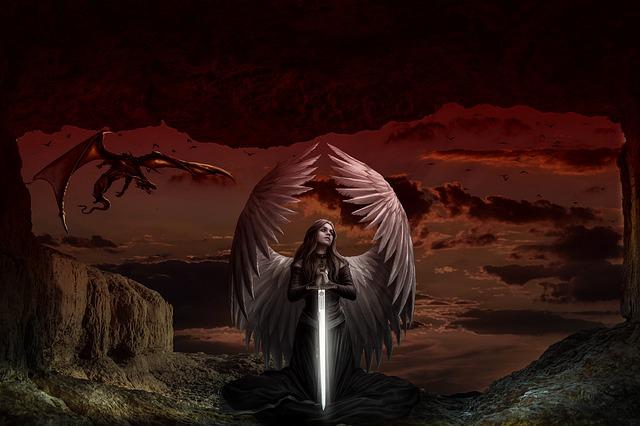 剣を持った女神の画像:敵対者の暗示や仲間の加護のイメージ