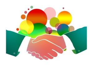 人脈、握手、人の繋がりのイメージ