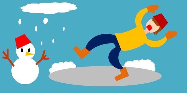氷で滑っている人のイメージ画像