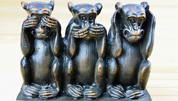 画像:三匹の猿:見ざる・言わざる・聞かざる:嘘に騙されないイメージ