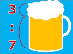 ビールと泡の割合が7:3になっている画像(画像:Teaching Othersによる自作)