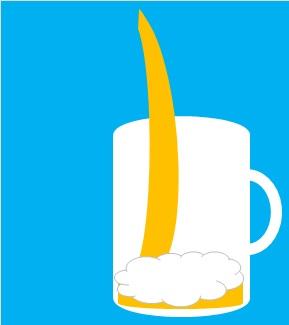グラスは真っ直ぐにして高い位置からビールを注いでいる画像(画像:Teaching Othersによる自作)