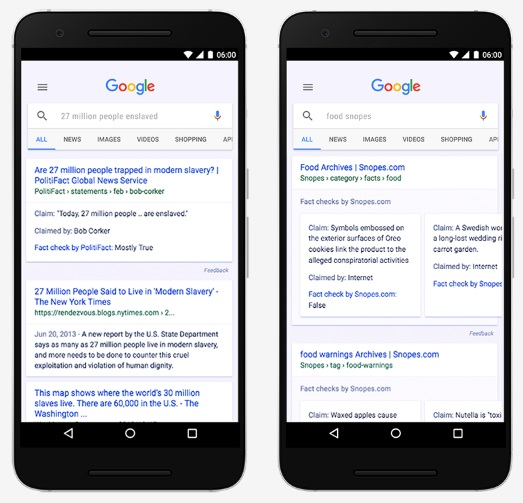画像:google factcheck(グーグルのファクトチェック)の結果例