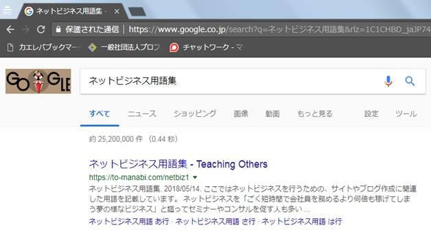 シークレットモードで「ネットビジネス用語集」と検索した結果の画面