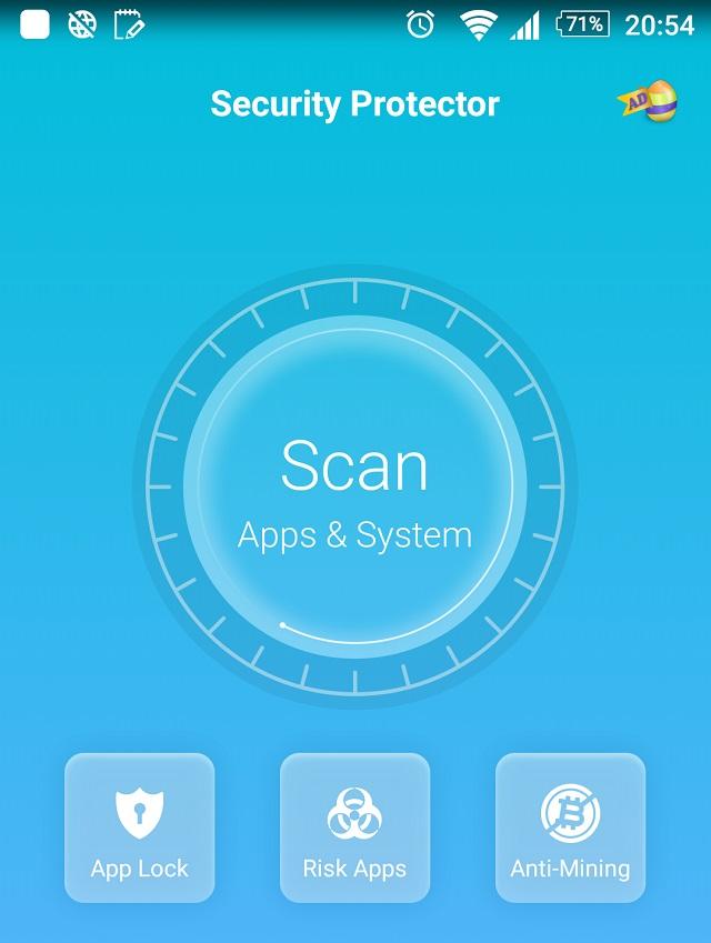 アプリ「セキュリティプロテクター」の画面