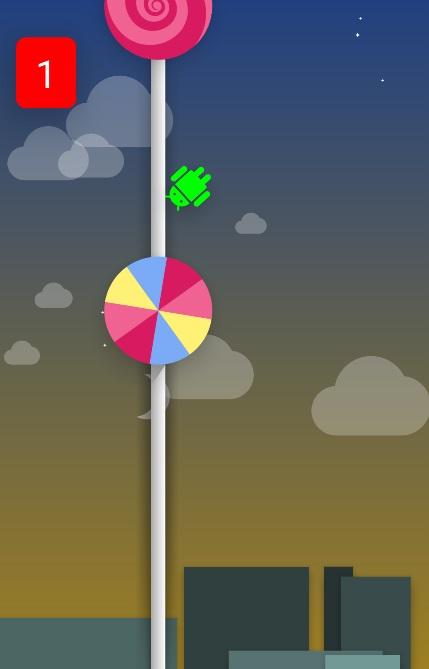 Androidイースターエッグlollipopのスクリーンショット:通過阻止
