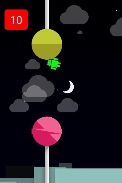 Androidイースターエッグlollipopのスクリーンショット:10回通過